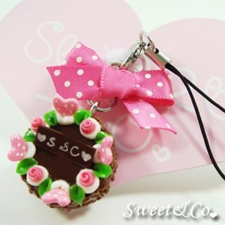 Sweet & Co. - Sweet Ribbon Brown Rose Cake Cell Phone Strap