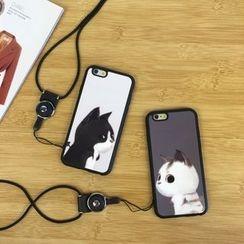 Stardigi - 猫猫印花手机套连颈带 - 苹果 iPhone 5 / SE / 6 / 6 Plus