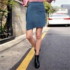 QNIGIRLS - Asymmetric-Hem Knit Mini Skirt