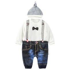 MOM Kiss - 婴儿套装: 长袖印花连体衣 + 帽子