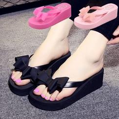Meguro - Bow Wedged Flip Flops
