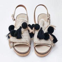 chuu - Pompom Tassel Detail Sandals