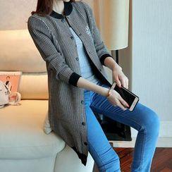Shomez - Striped Long Knit Jacket