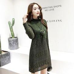 Romantica - Long-Sleeve Fleece-Lined Lace Dress