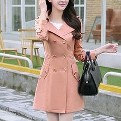 Donnae - Hooded Double Breasted Trench Coat
