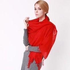羚羊早安 - 流蘇羊毛圍巾
