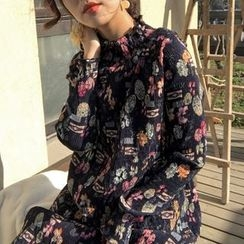 Bloombloom - Floral Print Mock Two-Piece Dress