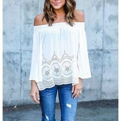 Dream a Dream - Embroidery Off Shoulder Blouse