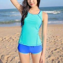 Charmaine - Set: Contrast Trim Tankini Top + Swimshorts