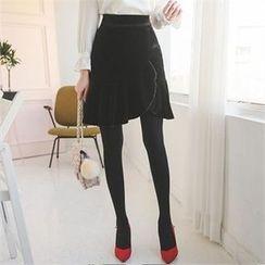 ode' - Frill-Trim A-Line Velvet Skirt