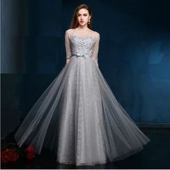 Luxury Style - Elbow-Sleeve Lace Embroidered Evening Gown