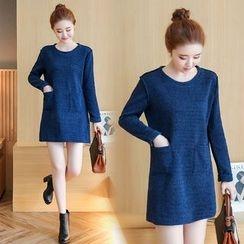 VIZZI - Plain Long-Sleeve Dress