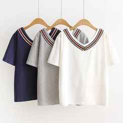 Angel Love - Striped V-Neck Short Sleeve T-Shirt