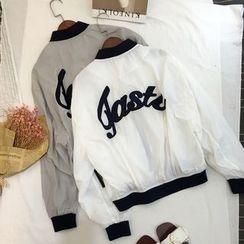 Kojasmine - Lettering Embroidered Stand Collar Zip Coat