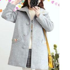 白金天使 - 刺繡娃娃領大衣