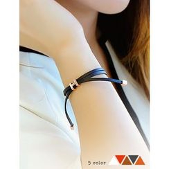 soo n soo - Metal Tip Faux Leather Bracelet