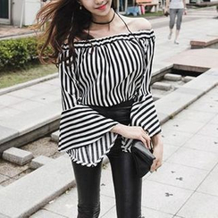 Jolly Club - Off-Shoulder Striped Blouse