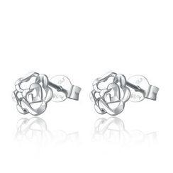 MaBelle - 14K White Gold Rose Flower Stud Earrings