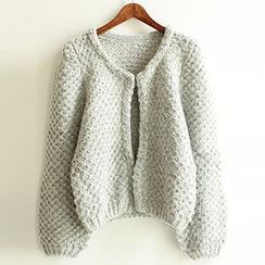 FR - Cable Knit Open Front Cropped Cardigan