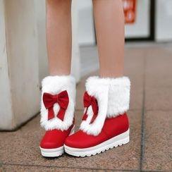 Pastel Pairs - Platform Furry Short Boots