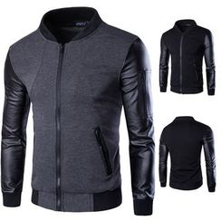 Fireon - Faux-Leather Sleeve Baseball Jacket