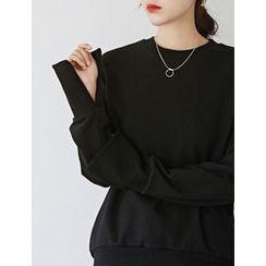 FROMBEGINNING - Long-Sleeve Slit-Cuff Pullover