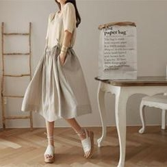 partysu - Linen Blend Jumper Skirt
