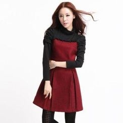 O.SA - Turtleneck Ruch-Sleeve Check Dress