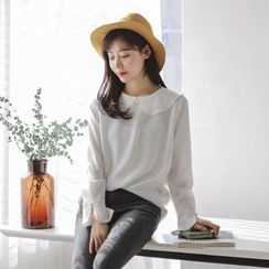 JUSTONE - Peter Pan-Collar Chiffon Blouse