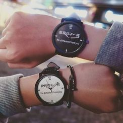 Tacka Watches - Lettering Print Couple Matching Strap Watch