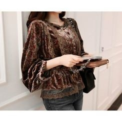 Marlangrouge - Lace-Detail Velvet Blouse