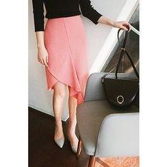CHERRYKOKO - Draped Front H-Line Skirt