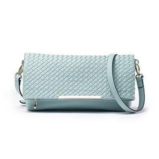 Moonbasa - Faux-Leather Woven Flap Wristlet