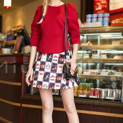 akigogo - Set: Plain 3/4 Sleeve Top + Printed A-Line Mini Skirt