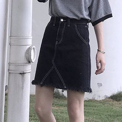 OCTALE - Frayed Hem A-Line Denim Skirt