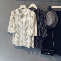 Glovon - Dotted V-neck Bell-Sleeve Chiffon Blouse