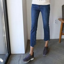Hello sweety - Fray-Hem Straight-Cut Jeans