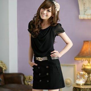 JK2 - Mock Two-Piece Double-Buttoned Dress