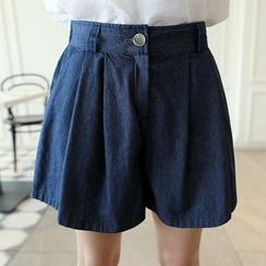 CLICK - Denim Pleat-Front Shorts