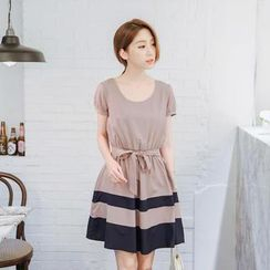 Tokyo Fashion - Tie-Waist Stripe A-Line Dress
