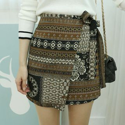 Dodostyle - Patterned Band-Waist Wrap Skirt