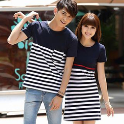 Igsoo - Print Couple Short-Sleeve T-Shirt / T-Shirt Dress