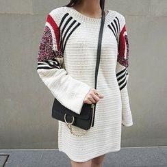 DISCOSALON - Round-Neck Textured Knit Minidress