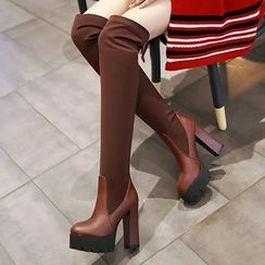Gizmal Boots - Chunky Heel Platform Over-the-Knee Boots