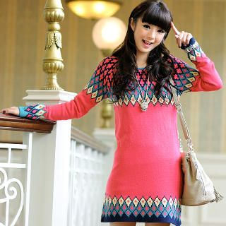 59 Seconds - Geometric Pattern Sweater Dress