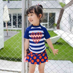 Goldlyre - Kids Set: Striped Short Sleeve Rashguard + Dotted Swim Skirt