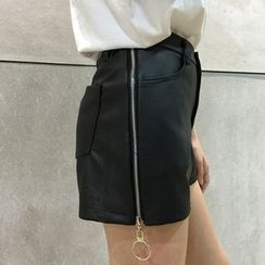 Dasim - Side Zip Faux Leather Shorts