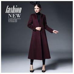 Ozipan - Wool Blend Slit-Side Open-Front Plain Coat
