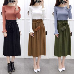 OGAWA - Furry Ball Pleated Midi Skirt