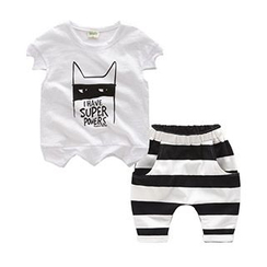 Kido - Kids Set: Cartoon Print T-Shirt + Striped Shorts